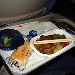 noodles and a bun on the aircanada flight in Chiba, Tokyo, Japan