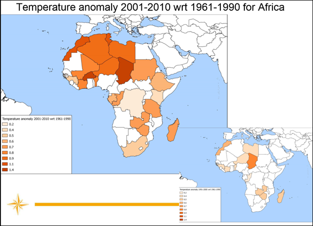 Temperature anomaly for Africa, 2001-2010, relative to 1961-1990. Graphic: WMO