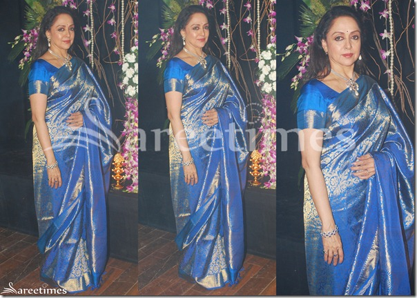 Hema_Malini_Blue_Silk_Saree