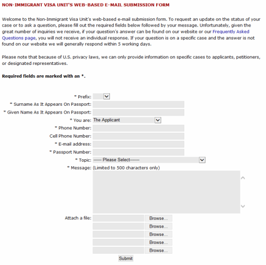 non immigrant visa unit web based email submission form