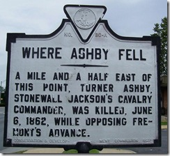 Where Ashby Fell marker A-30 in Harrisonburg, VA