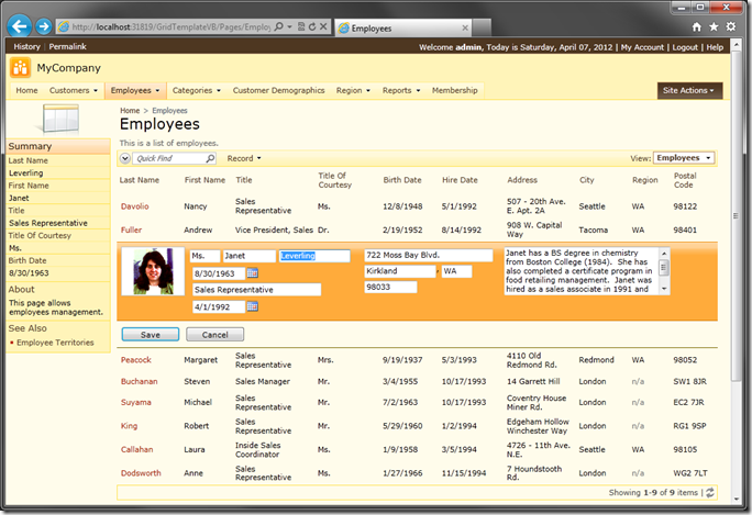 Employee record using custom template with inline editing mode