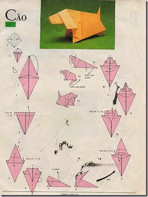 perro origami para niño
