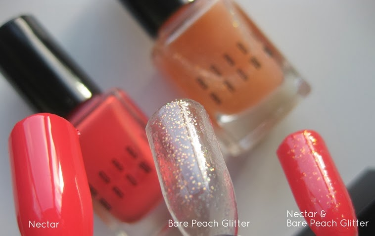 Bobbi-Brown-Nectar Nude-Nail-Polish-swatches-Nectar-Bare-Peach-Glitter