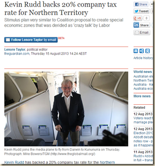 Kevin Rudd backs 20% company tax rate for Northern Territory - World news - theguardian.com
