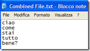 Text File Joiner documento TXT unificato