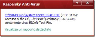 File malevolo rilevato test EICAR