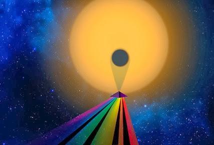 ilustração do espectro de transmissão de um planeta