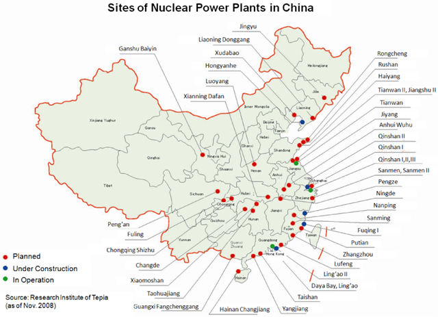 Sites of nuclear power plants in China, November 2008. Graphic: Research Institute of Tepia / Japan Society of Maintenology