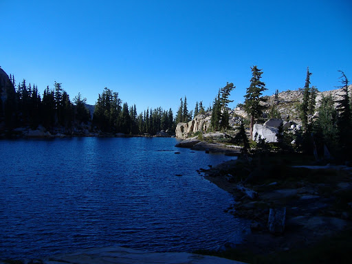 The outlet of the Lake in the morning--we are off for another adventure.©backpackthesierra.com
