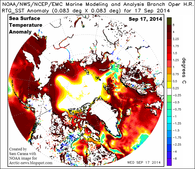 Sea surface temperature anomaly for the Northern Hemisphere, 17 September 2014 Graphic: NOAA / arctic-news.blogspot.com