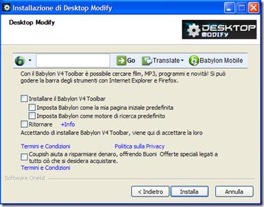 Desktop Modify rifiutare installazione di Babylon