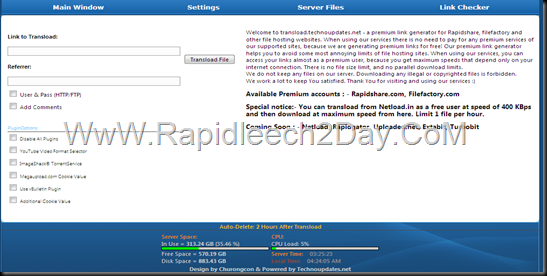 Rapidleech ServerWith Premium Accounts Rapidshare, Filefactory - Premium Link Generator 2013 Free and Public Use