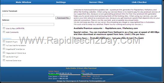 Rapidleech ServerWith Premium Accounts Rapidshare, Filefactory - Premium Link Generator 2013 Free and Public Use