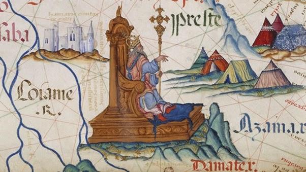 Ilustração do Preste João em um mapa da África Oriental