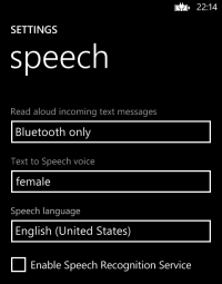 Speech Settings page in Windows Phone 8