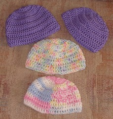 Hats purple and pastels