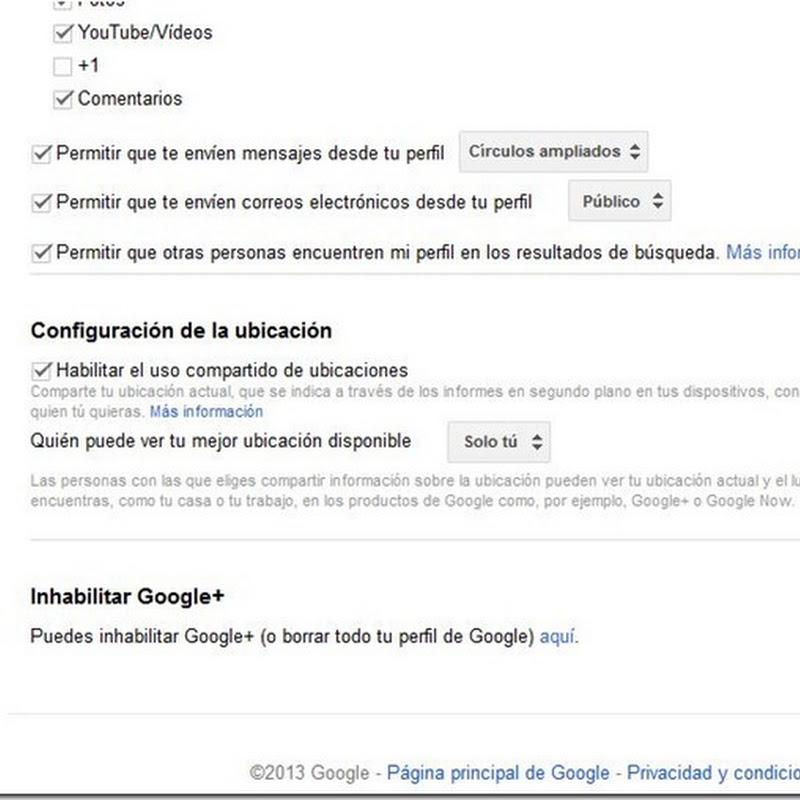 Borrar tu perfil de google+