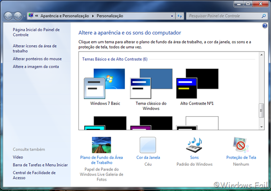 Escolha o tema Windows 7 Basic. O Windows Aero será desativado