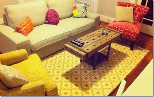 mismatched furniture grouping