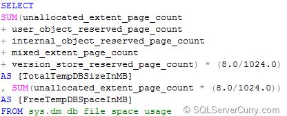 Sql Server Calculate Tempdb Space Using Dmv