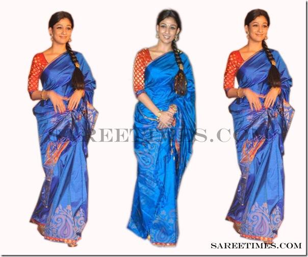 .Nayanthara_Blue_Designer_Saree