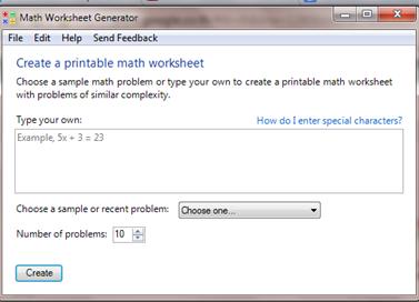 ฟรีแวร์สร้างใบงานสาระคณิตศาสตร์ Math worksheet generator