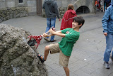 Kai trying to pull the sword from the stone, in Knights' Kingdom
