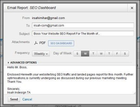SEO Dashboard - Google Analytics SEO report sent by irsah-com