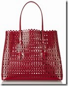 Alaia Red Patent Leather Laser Cut Tote