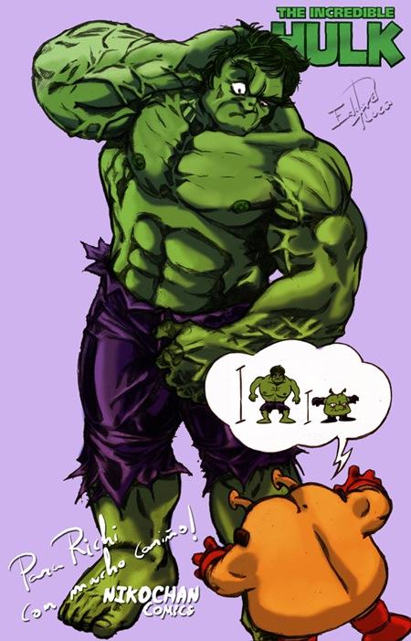 Hulk y el ayudante del Rey Nikochan, por Eduard Roca