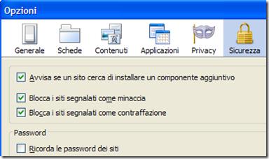 Disattivare il salvataggio delle password