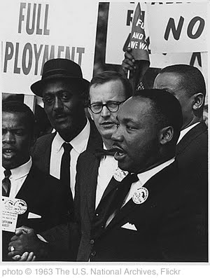 'Civil Rights March on Washington, D.C. [Dr. Martin Luther King, Jr., President of the Southern Christian Leadership Conference, and Mathew Ahmann, Executive Director of the National Catholic Conference for Interrracial Justice, in a crowd.], 08/28/1963' photo (c) 1963, The U.S. National Archives - license: http://www.flickr.com/commons/usage/