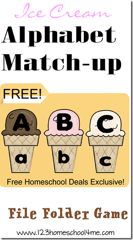 FREE Ice Cream Alphabet File Folder Game #alphabet #preschool #kindergarten
