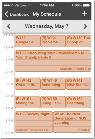 NGS Conference App - My Schedule