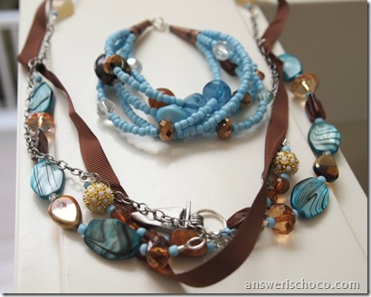 Toffee and Turqoise Necklace and Bracelet