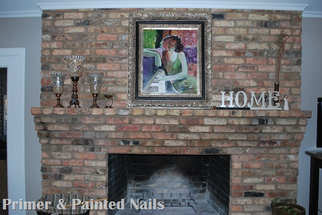 Fireplace Before - Primer & Painted Nails