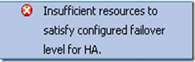 Insufficient resources to satisfy configured failover level for HA