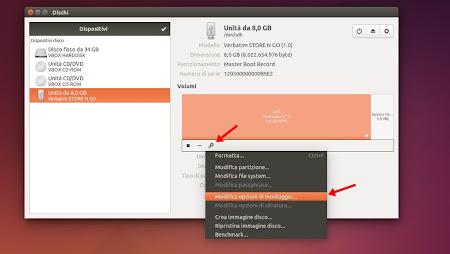 Ubuntu - Gnome Disk Utility - Opzioni