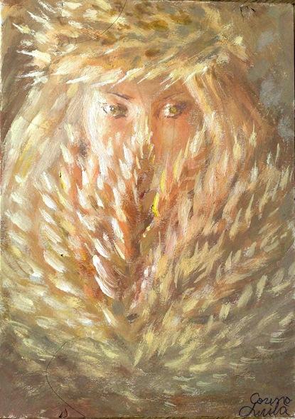Un chip inocent de fata cu spice de grau pictura tempera - Innocent girl with wheat painting