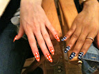 Deborah Lippmann of Deborah Lippmann Nail Polish created this gingham look based on Kate Spade fabric swatches. She and her staff sat in her office for a week filing these press-ons into edgy stiletto-shaped perfection. And though the nails were navy, orange, mint, and yellow, the models' toe nails were painted solid white.