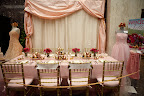 The pink and gold themed wedding reception table. I just love the combination of pink and gold.