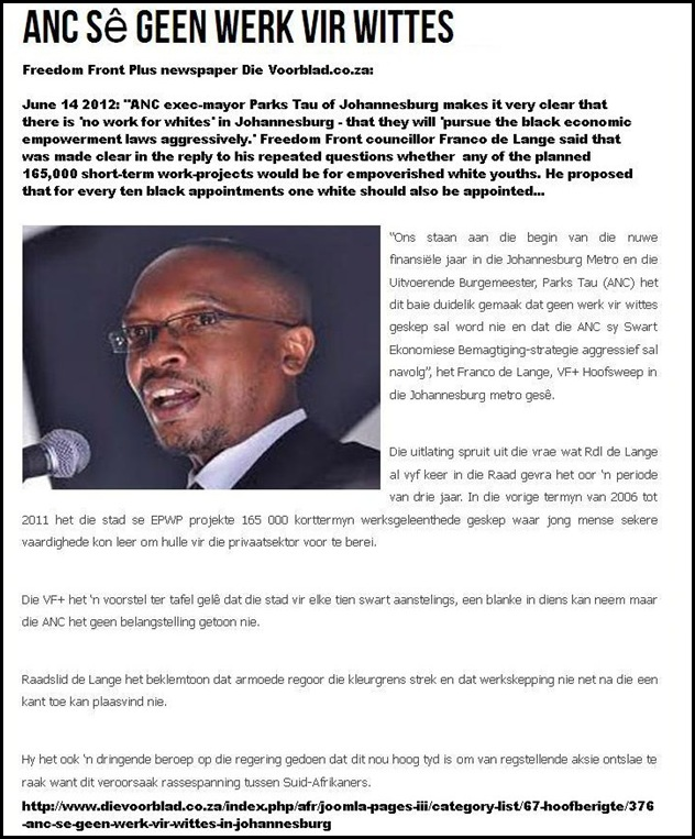 whites denied all jobs by ANC mayor Parks Tau Johannesburg June1420122 DIEVOORBLAD FREEDOMFRONTPLUS