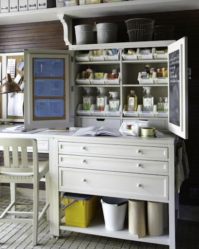 This piece consists of the storage hutch and three drawer flat file.  Martha customized it so it functions as her cleaning station.