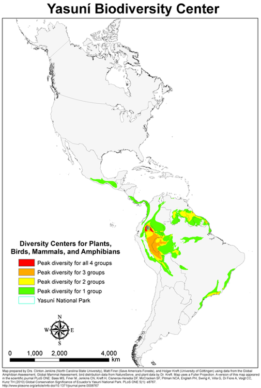 Biodiversity centers for plants, birds, ammals, and amphibians in Central and South America. Ecuador's Yasuní National Park has the greatest concentration of biodiversity of all four groups. Graphic: Bass, et al., 2010