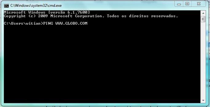 Como fazer o teste de Ping - para que serve e como funciona - Teste a velocidade da internet - abra a janela do DOS e digite o comando do PING www.globo.com