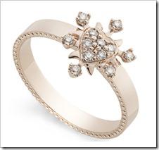 Anel Coração em Chamas de ouro rosé 18K com diamantes