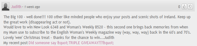 Judith giveaway comment