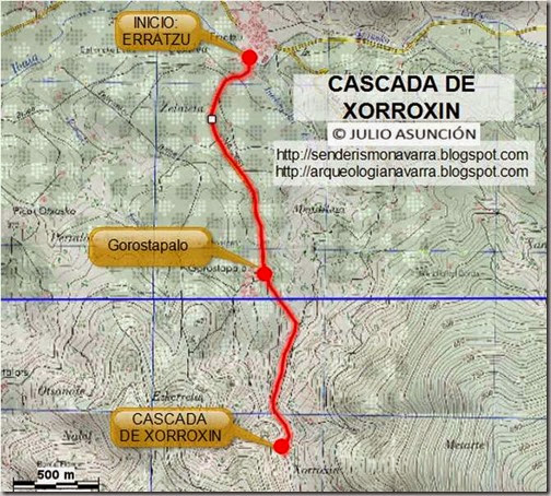 Mapa ruta cascada de Xorroxin
