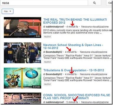 Video YouTube trovati caricati sul sito da pochi minuti